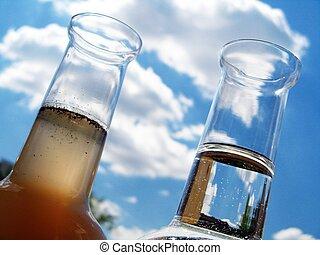 agua, garrafa, sucio, limpio