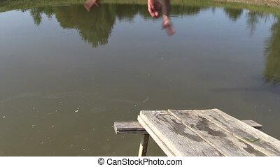 agua, gente, salto, puente