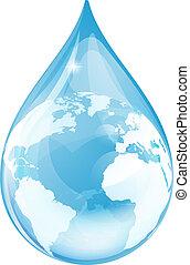 agua, globo, gota