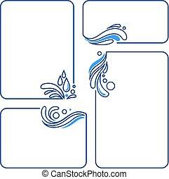 agua, gota, salpicadura, onda, conjunto, de, bandera, marcos