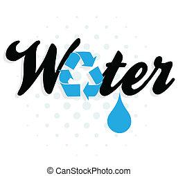 agua, gráfico, reciclaje