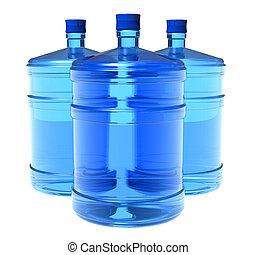 agua, grande, Conjunto, botellas