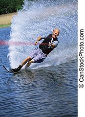 agua, hombre, joven, esquí