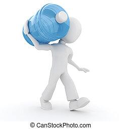 agua, hombre, proceso de llevar, botella, 3d