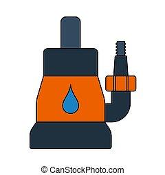 agua, icono, sumergible, bomba
