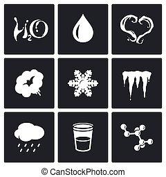 agua, iconos, estado físico, vario, set.