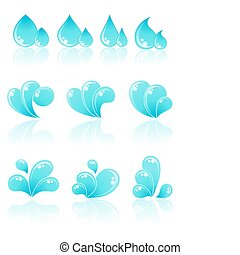 agua, icons., vector, illustration.