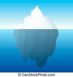 agua, ilustración, concept., vector., fondo., iceberg