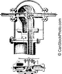 agua, kennedy, sección, tubo, por, distribución, eje, metro, engraving., vendimia, system;