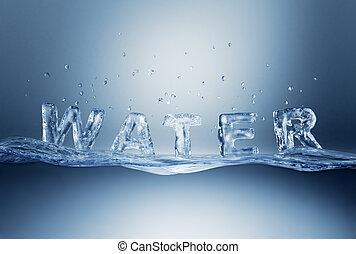 agua, letras, en, wave.