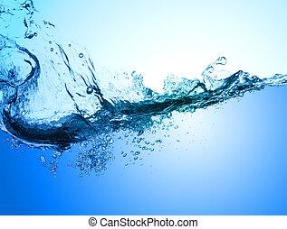 agua limpia, y, agua, burbujas