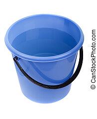 agua, lleno, cubo, plástico
