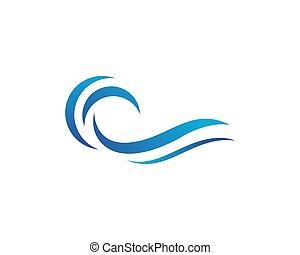 agua, logotipo, onda, plantilla, icono