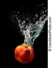 agua, manzana