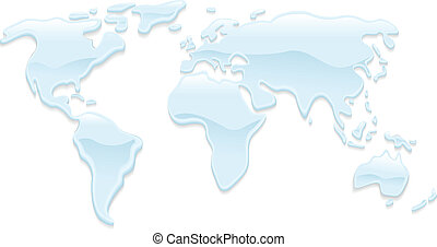agua, mapa del mundo, ilustración