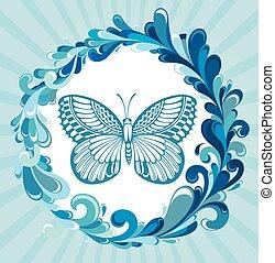 agua, marco, con, mariposa