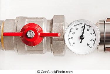 agua, metal, termómetro, rojo, válvula, tubos