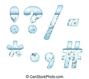 agua mineral, caracteres, blanco