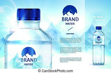 agua, mineral, puro, anuncio