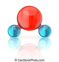 agua, molécula, 3d, ilustración