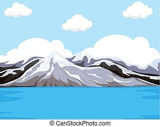agua, montaña, luego