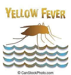 agua, mosquito, todavía, amarillo, fiebre