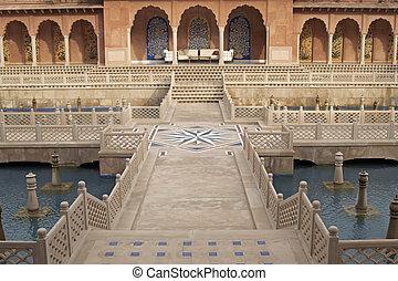 agua, mughal, jardín