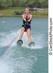 agua, mujer, joven, mar, esquí