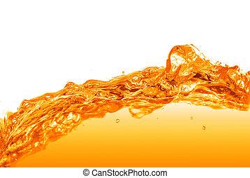 agua, naranja, blanco, salpicadura, aislado