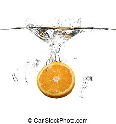 agua, naranja, blanco, salpicadura