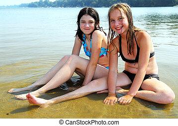 agua, niñas, dos
