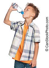 agua, niño, botella