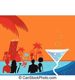 agua, noche, party:, las personas presente, piscina, y, fresco, martini, bebida