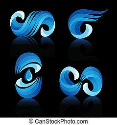 agua, onda, iconos