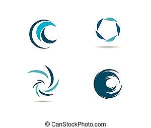 agua, onda, símbolo, y, icono, logotipo