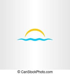 agua, onda, y, sol, vector, icono, ilustración