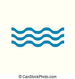 agua, ondas, icono