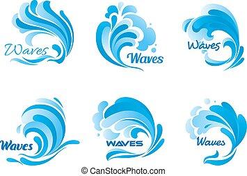 agua, ondas, y, salpicaduras, vector, iconos