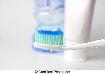 agua, pasta dentífrica, gota, cepillo de dientes