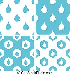 agua, patrones, gota, conjunto