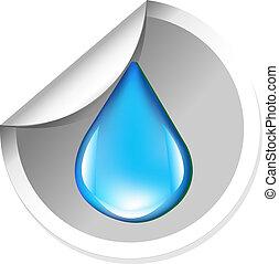 agua, pegatina, gota