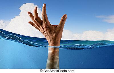 agua, persona, ahogo, mano