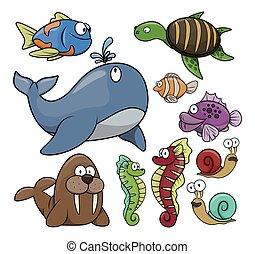 agua, pez, conjunto, debajo