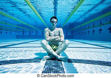 agua, piscina, nadador, debajo