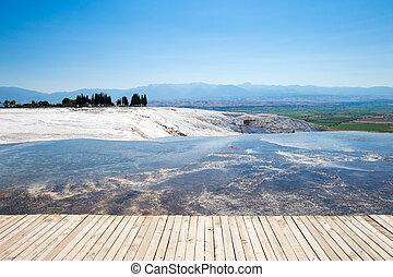 agua, Piscinas, turquesa,  Pamukkale,  Travertine