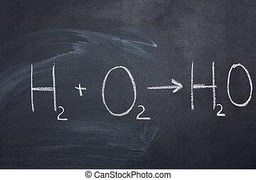 agua, pizarra, químico, fórmula, dibujado