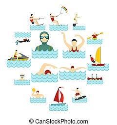 agua, plano, deporte, conjunto, iconos