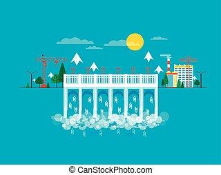 agua, plano, estilo, ilustración, dique