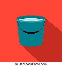 agua, plano, lleno, cubo, icono