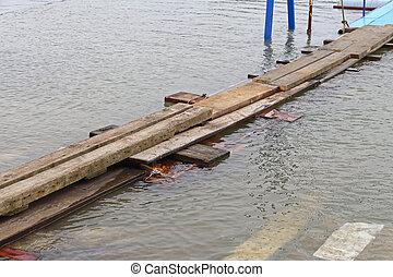 agua, puente, tablones